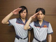 毎週火曜日深夜放送中の「機動戦士ガンダム 第07板倉小隊」(テレビ東京)に出演しているインパルス板倉とニブンノゴ!森本。