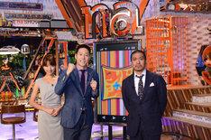 新番組「ワイドナショー」に出演する松本人志、東野幸治、三田友梨佳フジテレビアナウンサー(写真右から)。