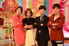 「内村とザワつく夜」取材会に出席した陣内智則、内村光良、ダレノガレ明美、犬山紙子(写真右から)。