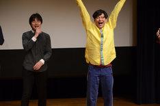 「トゥインクル1グランプリ2013」で優勝し、喜ぶYes-man。左が村山武蔵、右が越田裕。