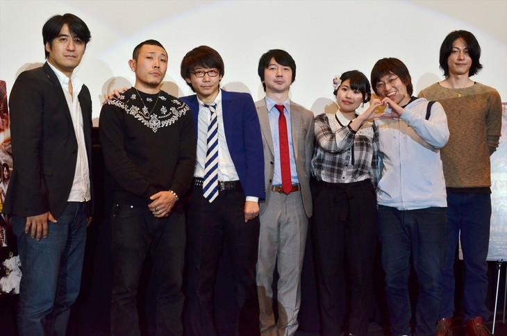 映画「ゴッドタン キス我慢選手権 THE MOVIE2 サイキック・ラブ」公開初日舞台挨拶の出演者たち。