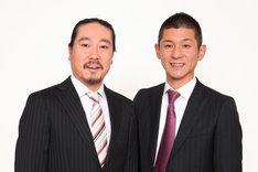 笑い飯。左から西田幸治、哲夫。
