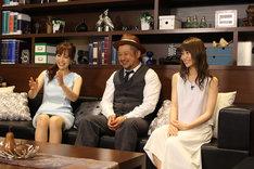 「どうなる?」レギュラー出演者の 竹内渉、ケンドーコバヤシ、永尾まりや(左から)。