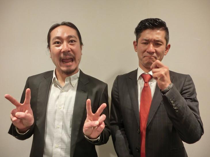 「秋の東西単独公演」開催を発表した笑い飯。左から西田、哲夫。