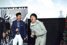 スタスタローン(右)のロッキーモノマネにご満悦の関根勤(左)。
