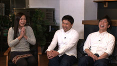 正月をどう過ごしたのか発表する(左から)椿鬼奴、フットボールアワー岩尾、フットボールアワー後藤。(c)テレビ東京