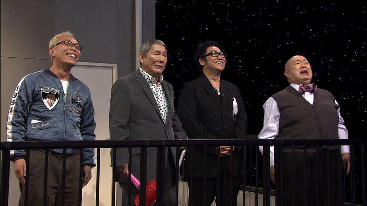 「たけしのこれがホントのニッポン芸能史」に出演する(左から)所ジョージ、ビートたけし、コロッケ、松村邦洋。(c)NHK
