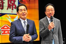 「THE舶来寄席2016」開催会見に出席した中田カウス・ボタン。