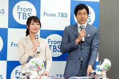 TBSの4月期番組改編説明会で進行を務めた(左から)宇垣美里、石井大裕(ともにTBSアナウンサー)。