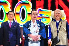 左から西川きよし、桂文珍、辻本茂雄。