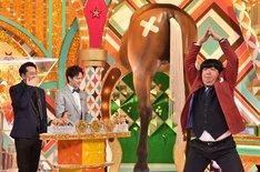 (左から)バナナマン設楽、ウエンツ瑛士、バナナマン日村。(c)TBS