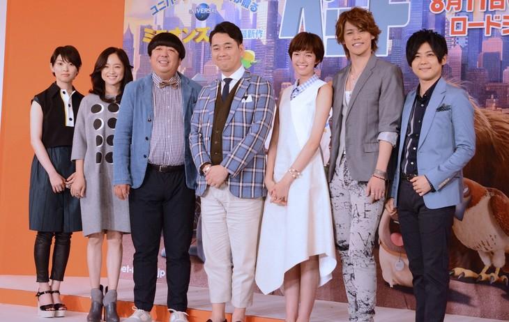 左から家入レオ、永作博美、バナナマン、佐藤栞里、宮野真守、梶裕貴。