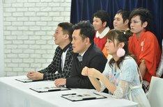 (前列左から)サバンナ高橋、くりぃむしちゅー有田、林田真尋。(c)TBS