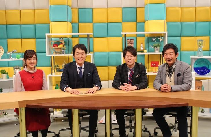 左から菊地亜美、千原ジュニア、陣内智則、石田純一。