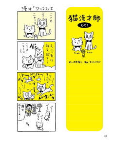 「猫と田中」に収録される4コママンガ「猫漫才師」。