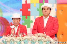 (左から)ナインティナイン岡村、佐野瑞樹フジテレビアナウンサー。