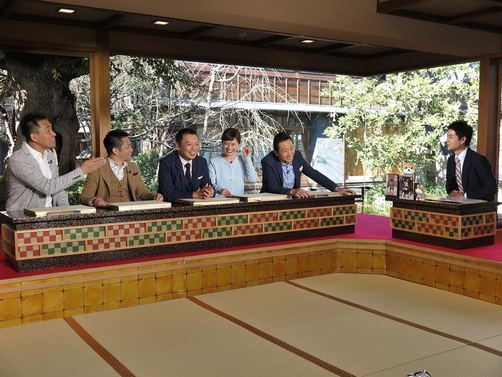 左から石田靖、中川家、斉藤雪乃、三田村邦彦、増田和也アナウンサー。(c)テレビ大阪