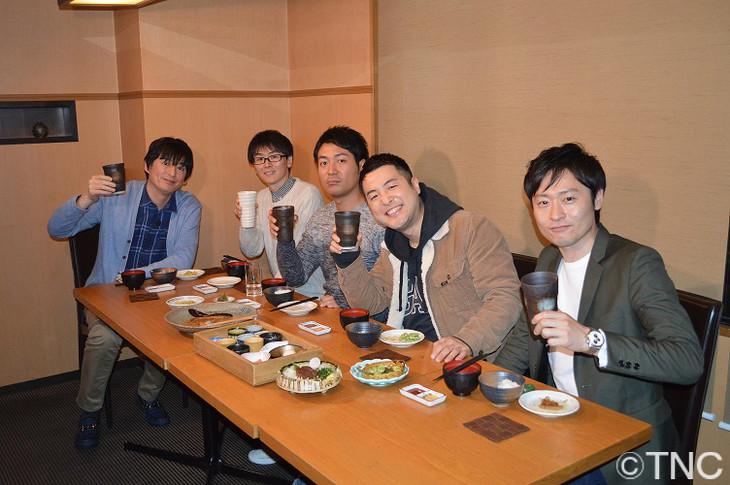 左から博多大吉、スーパーマラドーナ、和牛。