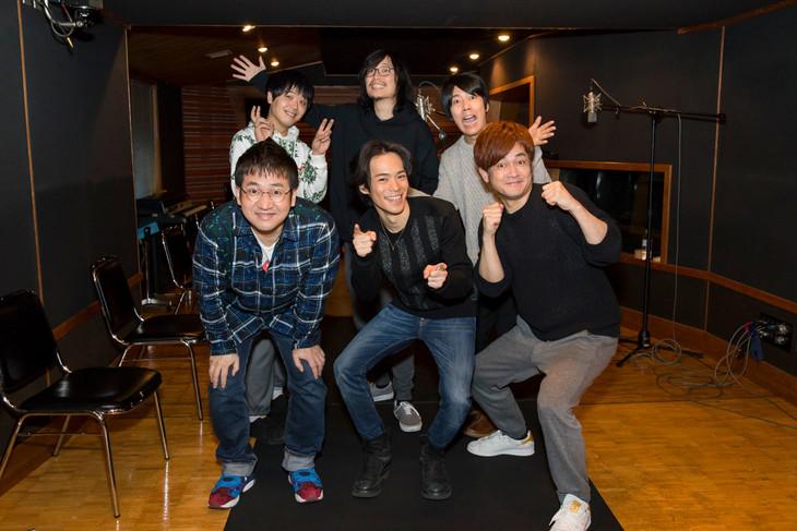 (手前左から)なすなかにし中西、小野賢章、なすなかにし那須。(後列左から)うしろシティ金子、新海岳人、うしろシティ阿諏訪。
