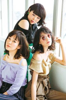 ブルゾンちえみ(中央)、水川あさみ(左)、桐谷美玲(右)。