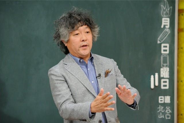 「しくじり先生 俺みたいになるな!!」で「日本のお笑いは終わってる発言で大炎上しちゃった先生」として授業を行う茂木健一郎。(c)テレビ朝日