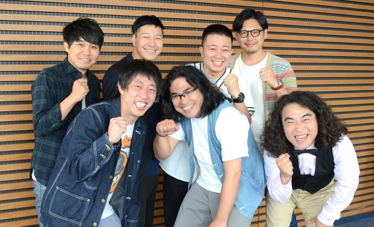 (前列左から)さらば青春の光・森田、ロッチ中岡、やさしい雨・松崎。(後列左から)さらば青春の光・東ブクロ、チョコレートプラネット長田、チョコレートプラネット松尾、アルコ&ピース平子。