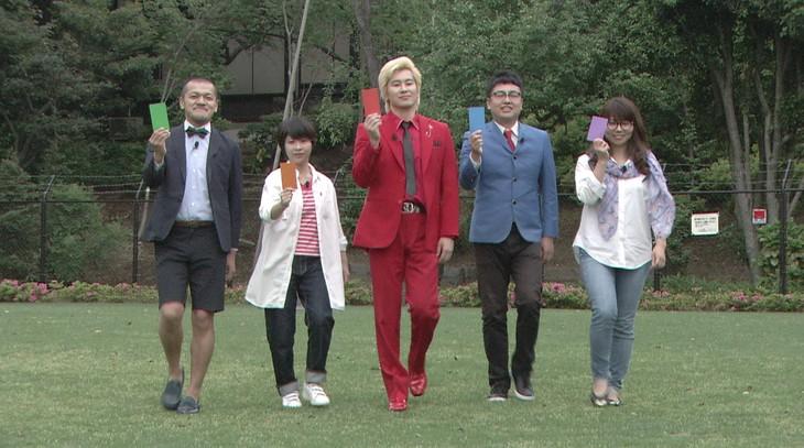 左からカミナリまなぶ、Aマッソ加納、メイプル超合金カズレーザー、銀シャリ橋本、相席スタート・ケイ。(c)日本テレビ