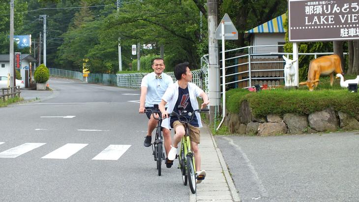 電動自転車で旅するカミナリ。