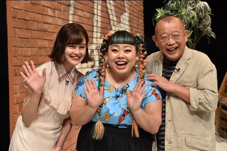 「A-Studio」に出演する(左から)emma、渡辺直美、笑福亭鶴瓶。(c)TBS