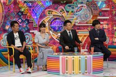 (左から)FUJIWARA藤本、岸明日香、雨上がり決死隊。(c)テレビ朝日