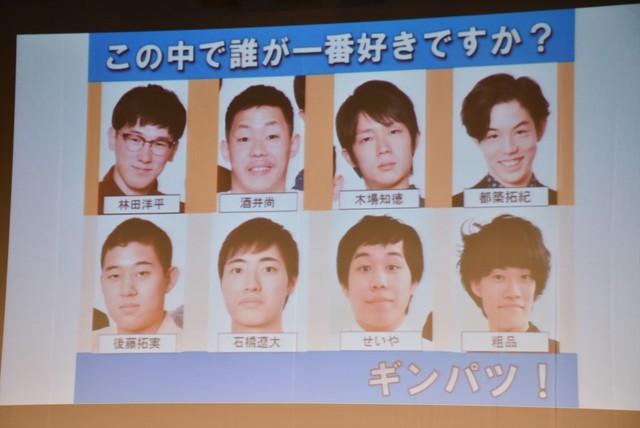 「原宿女子101人に聞きました 誰が一番タイプですか?」コーナーで用いられた8人の顔写真。