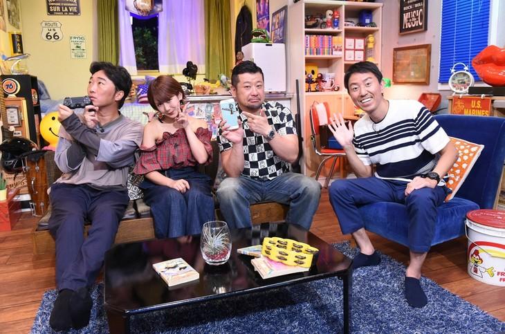 「笑いのタマリバ」に出演する(左から)スピードワゴン小沢、岡井千聖、ケンドーコバヤシ、チュートリアル福田。(c)TBS