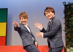 福岡へのアピールを求められ、「福岡愛が止まらねー!」とポーズを決めるサカイスト。