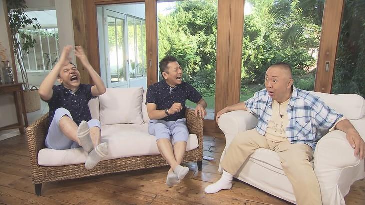 「太田上田」に出演する(左から)爆笑問題・太田、くりぃむしちゅー上田、ゲストの松村邦洋。(c)中京テレビ