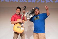 「KNACK ふたりの英雄と古代兵団」完成披露イベントに出席したANZEN漫才。