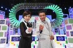 司会を務める(左から)大下容子アナウンサー、中山秀征。(c)テレビ朝日