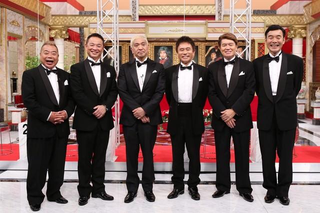 左から出川哲朗、恵俊彰、ダウンタウン、ヒロミ、ダチョウ倶楽部・肥後。(c)日本テレビ