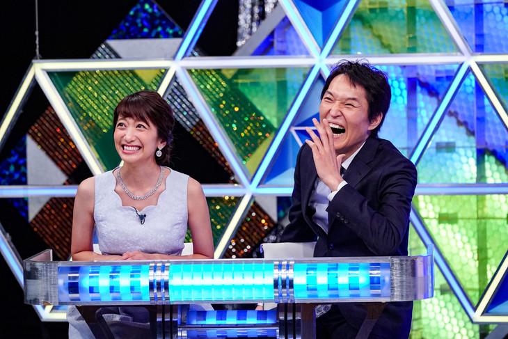 左から笹崎里菜アナウンサー、千原ジュニア。(c)日本テレビ
