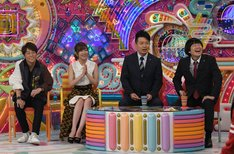 「昭和アニソン軍vs平成アニソン軍」に出演する(左から)陣内智則、指原莉乃、雨上がり決死隊。(c)テレビ朝日