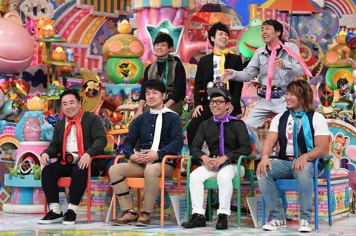 「日曜もアメトーーク!」に出演する「仮面ライダー大好き芸人」たち。(c)テレビ朝日