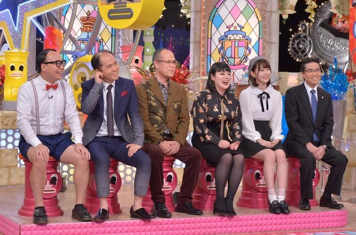 左からトレンディエンジェル、田中要次、ブルゾンちえみ、宮脇咲良、若狭勝。(c)読売テレビ