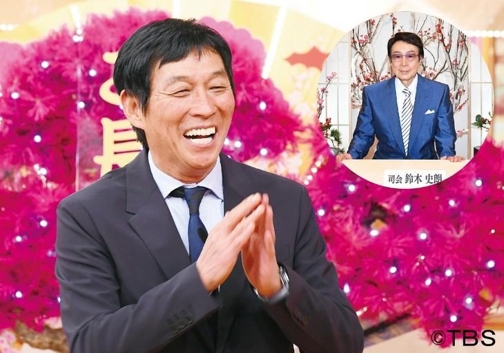 「爆笑!明石家さんまのご長寿グランプリ2017」司会の明石家さんまと、コーナー司会の鈴木史朗(右上)。