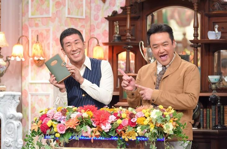 「探偵!ナイトスクープ 年忘れファン感謝祭2017」MCの(左から)麒麟・田村、たむらけんじ。(c)ABC