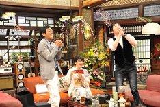 (左から)明石家さんま、福原愛、今田耕司。(c)関西テレビ