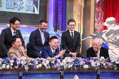 (手前左から)爆笑問題、野村克也。(c)テレビ朝日