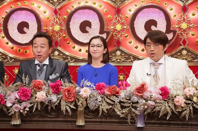 「Qさま!!」MCのさまぁ~ずと優香(中央)。(c)テレビ朝日