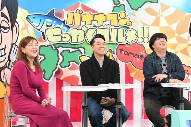 「バナナマンのせっかくグルメ!」に出演する、バナナマンと高橋真麻(左)。(c)TBS