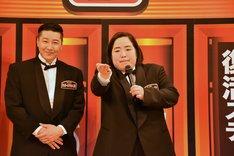 ボケまくるゆりやんレトリィバァ(右)と、チョコレートプラネット長田(左)。
