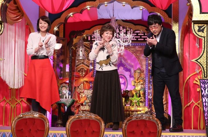 左から中村仁美、十朱幸代、南海キャンディーズ山里。(c)日本テレビ