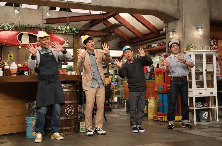 「おかべろ」に出演する(左から)ロンドンブーツ1号2号・田村亮、横山だいすけ、ナインティナイン岡村、岸本功喜。(c)関西テレビ